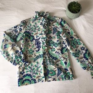 Vintage 1970s Floral Ruffle Button Down Blouse